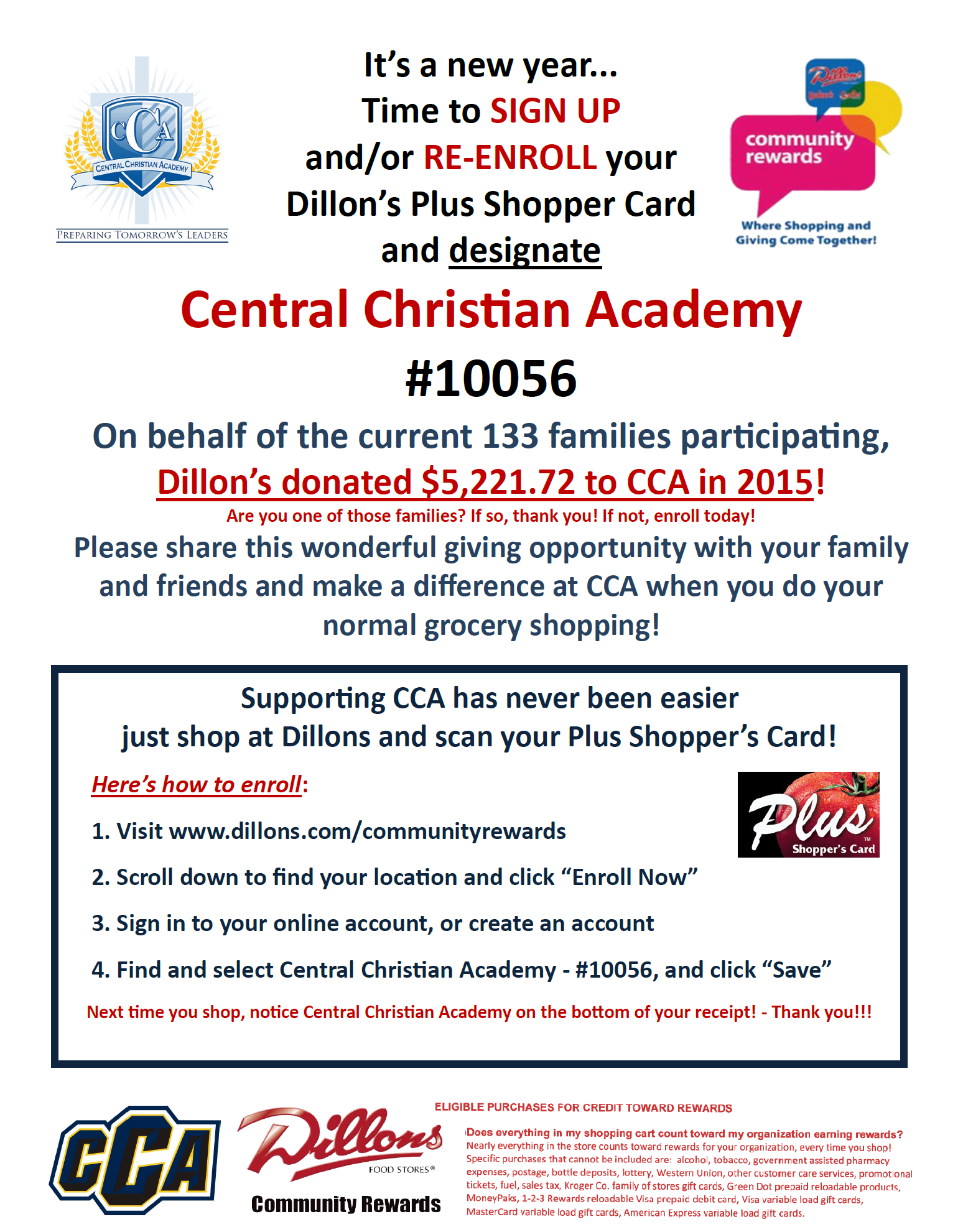 Enroll or Re-enroll in Dillons Community Rewards TODAY for CCA!